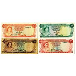 Bahamas Government & Central Bank of the Bahamas. 1965-1974. Lot of 4 Issued Notes.