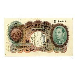 "Government of Barbados. 1939. Issued ""Short Snorter"" Note."