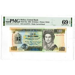 Central Bank of Belize. 1990. Highest Graded Issued Banknote.