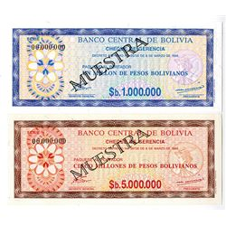 Banca Central de Bolivia. 1985. Lot of 2 Specimen Notes.
