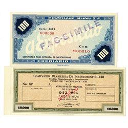 Companhia Brasileira de Invetmintos - CBI & a Exposicsio Modas S.A.  ND (ca. 1960-70's). Pair of SPE