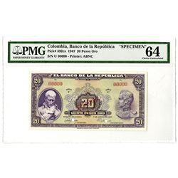 Banco de la Republica. 1947 Specimen Banknote.