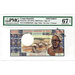 Republique Populaire du Congo. ND (1974). Specimen Banknote.