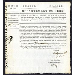 Departement Du Gers, ND (ca.1780-1790's) French Notice of Change of Mandat Currency.
