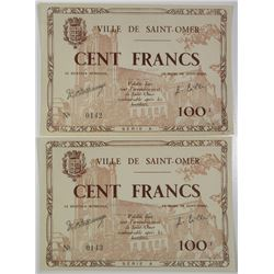 Ville de Saint-Omer. ND (1941-1945). Lot of 2 Issued Notes.