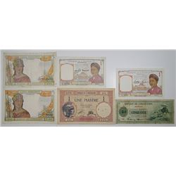 Banque de L'Indochine & Others. 1936-1953. Lot of 13 Issued Notes.