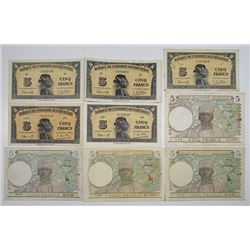 Banque de l'Afrique Occidentale. 1939-1943. Lot of 14 Issued Notes.