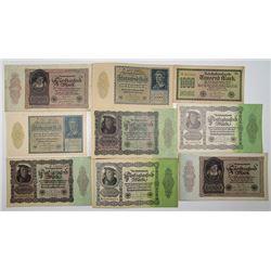 Reichsbankdirektorium. 1917-1933. Lot of 56 Issued Notes.