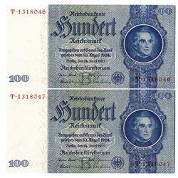 Reichsbankdirektorium. 1933. Lot of 2 Issued Notes.