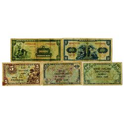 U.S. Army Command. 1948. Lot of 5 Issued Notes.