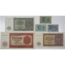 Deutchen Notenbank & Bank Deutscher LŠnder. 1948-1955. Lot of 6 Issued Notes.