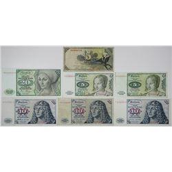 Deutsche Bundesbank & Bank Deutscher LŠnder. 1948-1980. Lot of 7 Issued Notes.