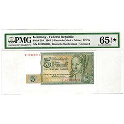 German Bundesbank. 1963. Unissued Banknote.