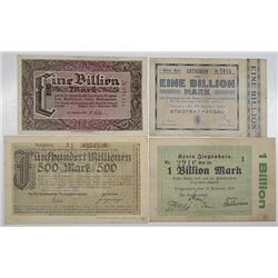 Various German Issuers. 1923. Lot of 4 High Denomination Issued Notes.