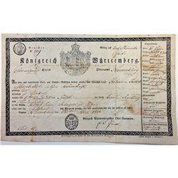 Kšnigreich WŸrttemberg. 1831. Passport / Travel Document.