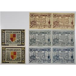 Ahaus and RŸgenwalde. 1921. Notgeld Lot of 8 Issued Notes.