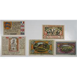 Augustenburg & AuenbŸll. 1920. Notgeld lot of 5 Issued Notes.