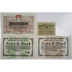 Aushilfschein der Stadt Altona, 1918. Notgeld lot of 4 Issued Notes.