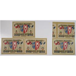 Aventost. 1921. Notgeld lot of 5 Issued Notes Including one Mis-print Error Note.