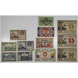 Beverungen, Bielefeld, & Blumenthal. 1921. Notgeld lot of 12 Issued Notes.