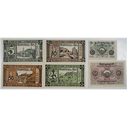 Blankenburg. 1915-1919. Notgeld lot of 6 Issued Notes.
