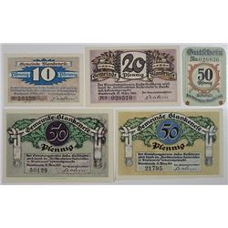 Blankenese District (Hamburg). 1921. Notgeld lot of 5 Issued Notes.