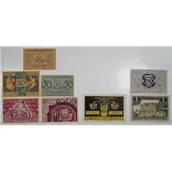Boppard, Bokelsess, & Bšel. 1920-1921. Notgeld lot of 8 Issued Notes.