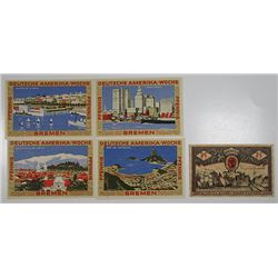 Bremen. 1921-1923. Notgeld lot of 5 Issued Notes.