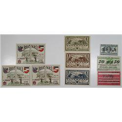 Brunde, Brockau, & Bruchhausen. 1920-1921. Notgeld lot of 9 Issued Notes.