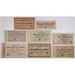 Deutsche Reichsbahn. 1923. Lot of 8 Issued Notes.
