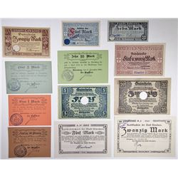 Dšbeln, Nšrenberg and other Assorted German Notgeld Issuers. 1918. Group of 12 Issued Notes.