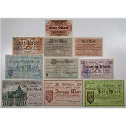 Eisenach & Elberfeld. 1918. Notgeld lot of 10 Issued Notes.
