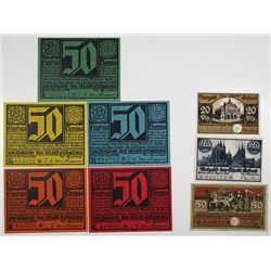 Erfurt. 1920-1921. Notgeld lot of 8 Issued Notes.