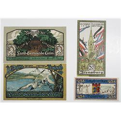 Eutin & Flensburg. 1920. Notgeld lot of 4 Issued Notes.