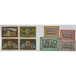 Exin & Fallersleben. 1920-1921. Notgeld lot of 8 Issued Notes.