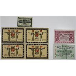 Frankfurt an der Oder and Frankfurt am Main. 1917-1919. Notgeld lot of 7 Issued Notes.