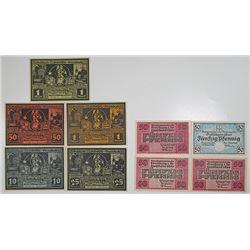 Freiburg & FrŠnkisch-Crumbach. 1920-1921. Notgeld lot of 9 Issued Notes.