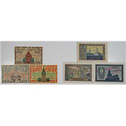 Freiburg & Friedrichstadt. 1921. Notgeld Lot of 6 Issued Notes.