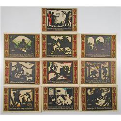 FŸrstenwalde / Spree. 1921. Notgeld Lot of 10 Issued Notes.