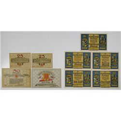 Geldern and GlŸcksburg. 1920. Notgeld Lot of 9 Issued Notes.