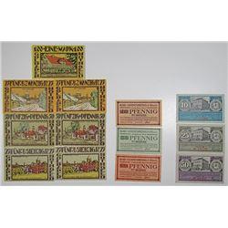 Goch, Goldap & Godesberg am Rhein. 1920-1921. Notgeld Lot of 13 Issued Notes.