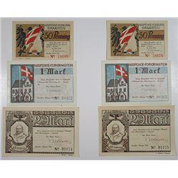 Graasten (GrŒsten). 1920. Notgeld lot of 6 Issued Notes.