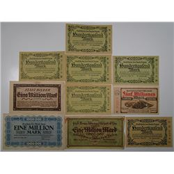 Haan, Hilden, Murrhardt & Other Issuers. 1923. Notgeld lot of 19 Issued Notes.