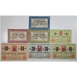 Kaiserslautern. G.M. PFAFF, Nahmaschinenfabrik, 1918. Notgeld lot of 7 Issued Notes.