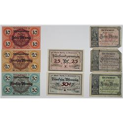 Rheingaukreis & Pyritz in Pommern. 1917-1921. Notgeld Lot of 9 Issued Notes.