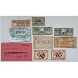 Various German Issuers. 1910s-1940s. Lot of 10 Issued Notes.