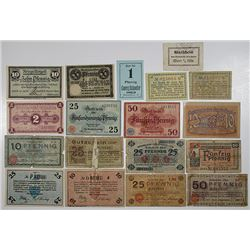 Various German Notgeld Issuers. 1917-1918. Notgeld lot of 18 Issued Notes.