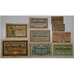 Hesse State Bank and Other Issuers Including 2 POW notes. 1922-1923. Notgeld lot of 9 Issued Notes.