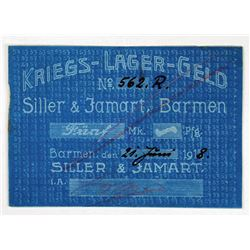 Siller & Jamart. 1918. Issued POW Camp Note.