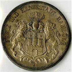 Hamburg, 1913 J, 5 Mark, KM#610, Choice AU to Uncirculated.